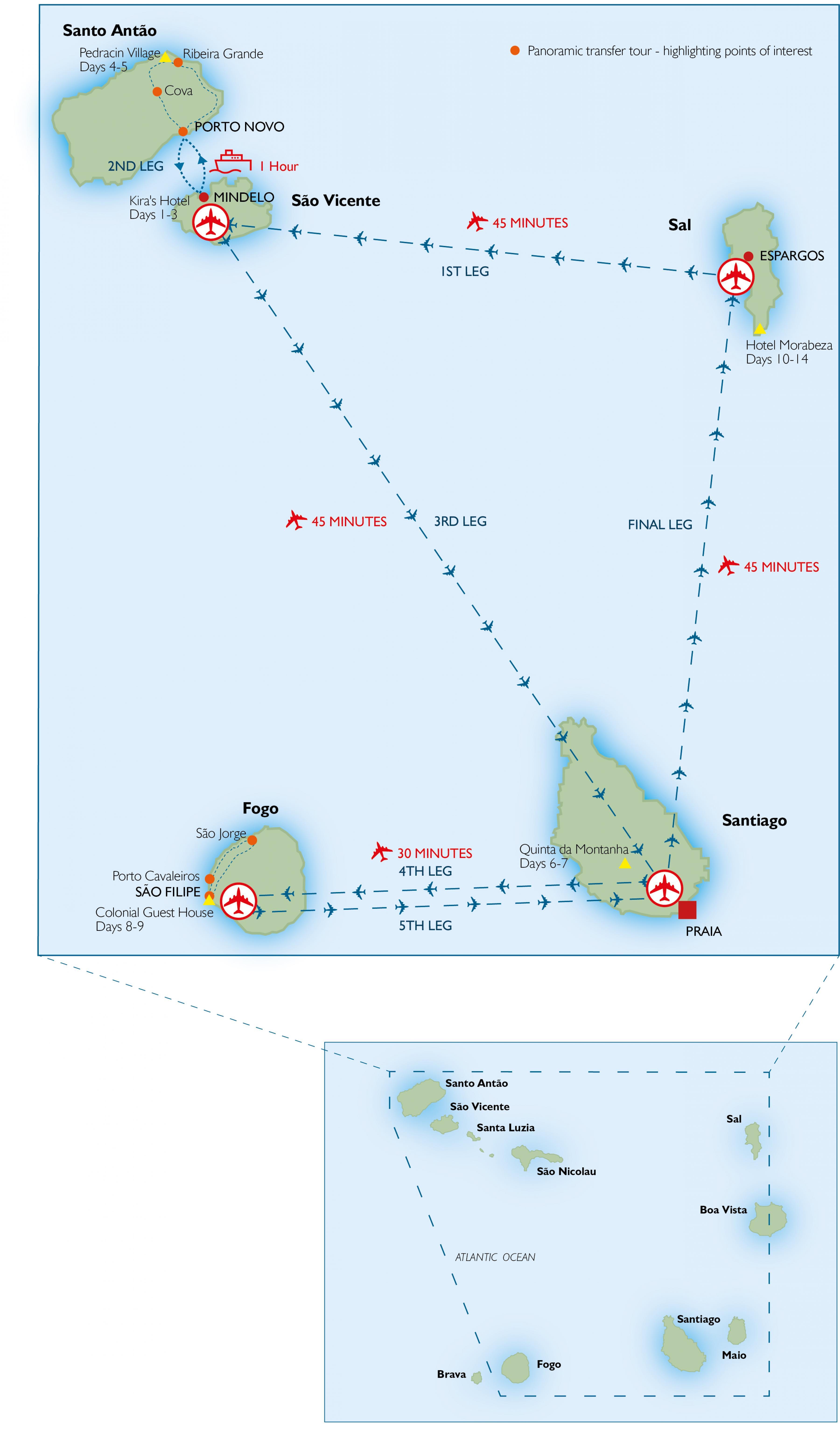 Kap Verden Lentokentat Kartalla Kartta Cape Verde Lentokentista