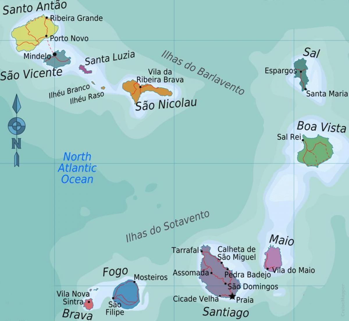 Kap Verden Saarilla Kartta Kap Verden Saaret Kartta Sijainti